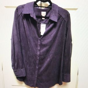 NWT Chico's Smooth Suede Reza Blouse